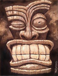 Tiki Man 1 by Trey Surtees Freaky Tiki Man 1 Painting by Trey Surtees - Freaky Tiki Man 1 .Freaky Tiki Man 1 Painting by Trey Surtees - Freaky Tiki Man 1 . Tree Carving, Wood Carving Art, Wood Art, Tiki Tattoo, Totem Tiki, Tiki Maske, Tiki Faces, Tiki Art, Tiki Tiki