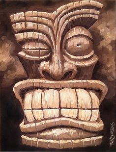 Freaky Tiki Man 1 Painting by Trey Surtees - Freaky Tiki Man 1 ...