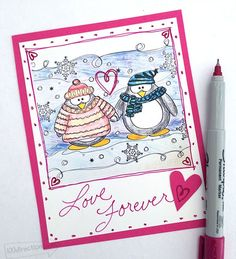 Penguin coloring page Valentine by Jen Goode