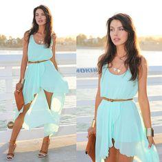 Fashion Women Chiffon Dress Asymmetrical Hem Sleeveless Tank Dress Light Blue