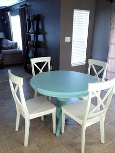 Aqua painted kitchen table