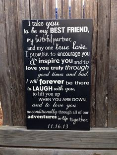 """Wedding Vows Anniversary Gift Wood Sign 12"""" x 20"""" Marriage Custom Personalize First 5th Fifth Anniversary Valentine's Day Gift for Him by LilMissScrappy on Etsy https://www.etsy.com/listing/173883902/wedding-vows-anniversary-gift-wood-sign"""