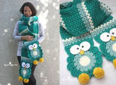 Crochet Owl Super Scarf By Sarah - Free Crochet Pattern - (repeatcrafterme)