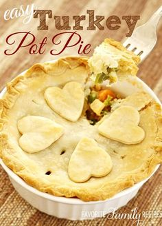 Turkey pot pies have got to be one of my very favorite ways to use up Thanksgiving leftovers! I like to get whatever veggies are leftover from dinner (peas, green beans, corn) and throw them in with the sauce with the other veggies as well. Couldn't be easier!