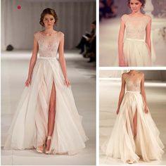 Nueva moda Elie Saab vestido de noche atractivo de la raja de 2014 para la pista Beige Couture Celebrity Prom encaje bordado sobre el pecho de la manga del casquillo en Vestidos de Noche de Moda y Complementos en AliExpress.com | Alibaba Group