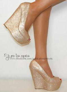 Glitter gold wedges