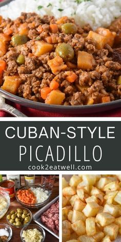 Picadillo is a classic Cuban dish. It's really easy to make and it's perfect for a deliciously different weeknight meal. In this recipe we go all out and add little fried potatoes to the picadillo.