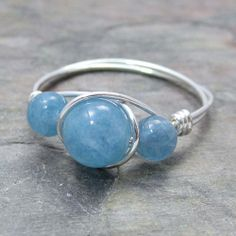 Blue Hemimorphite Sterling Silver Wire Wrapped Ring by KimsJewels, $15.00