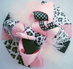 boutique BLACK and light PINK LEOPARD funky fun hair by andjane, $12.99