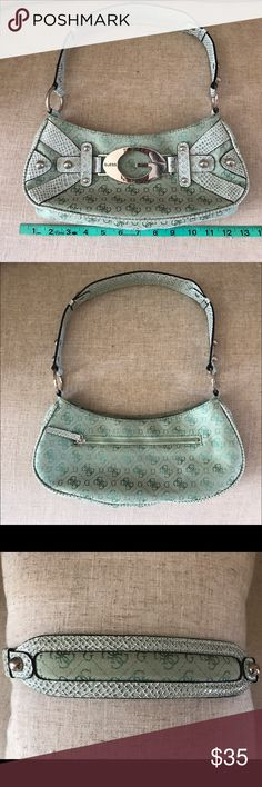 Guess Purse Small shoulder purse 13in x 5in Seafoam Green  with satin lining. Gently used! Great condition! No dust bag Guess Bags Shoulder Bags