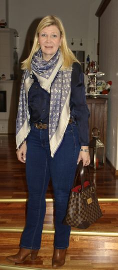 Massimo Dutti silk shirt, Louis Vuitton shawl, Hamstead