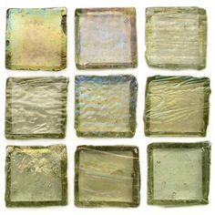 "Creative Decore  1"" x 1"" Iridescent, 1"" x 1"", Light Olive Iridescent, Glossy & Iridescent, Green, Glass"