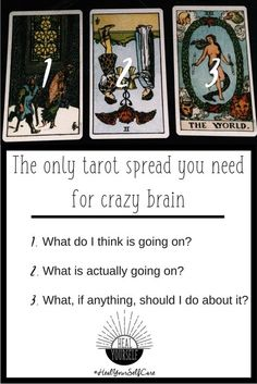 How to use tarot for self care with this simple spread. When anxiety and depress. - - How to use tarot for self care with this simple spread. When anxiety and depression won't lift, this is the only spread you need to snap out of the funk. Tarot Card Spreads, Tarot Cards, 3 Card Tarot Spread, Witchcraft, Wiccan, Tarot Astrology, Oracle Tarot, Tarot Card Meanings, Tarot Readers