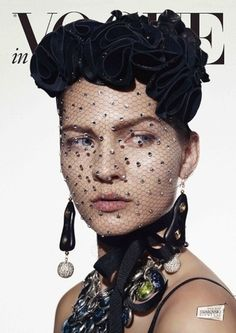 Vogue Cover image: half-hidden by a secretive, crystal-sprinkled veil and headpiece unique to Swarovski Design, her sculptural earrings are by Chaingang and statement necklace by Simon Harris. Vogue Magazine Covers, Vogue Covers, Swarovski, Glamour, Madame, Elegant, Headdress, Editorial Fashion, Fashion Photography