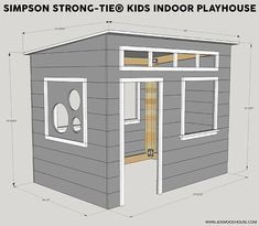 Easy Kids Indoor Playhouse - Learn how to build a fun and magical indoor playhouse for your kids! Free plans and tutorial by Jen Woodhouse. #buildplayhouseeasy #buildplayhouses