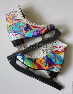Color paint your plain boring white ice skates - step by step Photo tutorial - Bildanleitung - декорирование