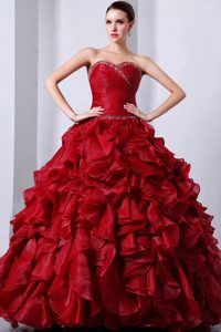Follow #Professionalimage – Sweetheart Wine Red Organza Quinceanea Dress with Beading and Ruffles - Magic Quinceanera