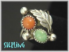 Arizona Green Turquoise & Coral - Sterling Silver Native American Indian 2 Stone Ring - Size 5 1/2 - Estate Antique - FREE SHIPPING by FindMeTreasures on Etsy