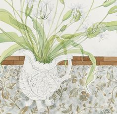 A detail from Angie Lewin's 'Ramsons with Thistle Pot', one of the first watercolours exhibited since her election to membership of the Royal Watercolour Society. http://www.angielewin.co.uk/collections/original-work/products/ramsons-with-thistle-pot