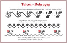 Modele de cusaturi traditionale din Dobrogea – Simona Moon Peyote Stitch, Cross Stitch, Folk Embroidery, Loom Beading, Textile Design, Projects To Try, Crochet Patterns, Traditional, Sewing
