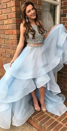 Two Pieces Prom Dress,Light Blue Prom Dress,Prom Dresses For Teens,Evening Dresses.Party Dresses,Sparkly Prom Dresses from olesa wedding shop Baby Blue Prom Dresses, Sparkly Prom Dresses, High Low Prom Dresses, Prom Dresses For Teens, Prom Dresses 2018, Beaded Prom Dress, Beautiful Prom Dresses, Prom Party Dresses, Dress Prom