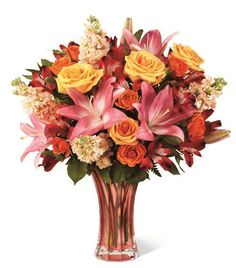 Premium Pink Lily And Orange Rose Bouquet at Send Flowers. Pink lilies mix with pale orange roses, peach gilly flowers, peach stock flowers in a peach vase. Orange Flower Bouquets, Orange Rose Bouquet, Peach Colored Roses, Spring Flower Bouquet, Coral Roses, Orange Flowers, Tucson, Flowers Canada, Peruvian Lilies