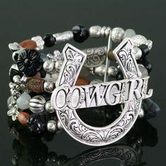Cowgirl Bracelet- Black/Brown Beads.
