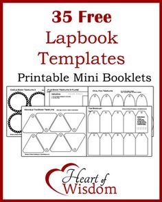 35 Free #Lapbook Templates in one PDF file print pages you need #Homeschool #Teacher