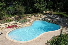 Gunite Custom Pool with Natural Stone and Waterfall by aspools, via Flickr