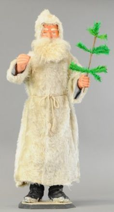 TALL FATHER CHRISTMAS IN WHITE FUR COAT NODDER : Lot 1469