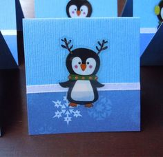 Penguins and Snowflake Mini Cards or Gift Tags 2x2 (6) by PeculiarParchment on Etsy
