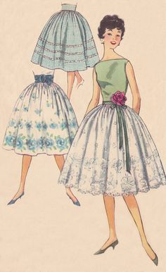 1950's Women's Skirt Pattern from Simplicity pattern # 3020 from 1955.