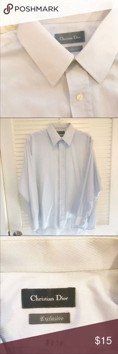 """Christian Dior Long Sleeve Shirt Really light blue long sleeve shirt for men by Christian Dior. Size 42, 16 1/2. Sleeve length 24"""", Shirt length 32.5"""", chest 24"""". 70% cotton, 30% polyester. No sweat stains but it has small dot on the sleeve and my husbands name written inside 😬. The Shirt is in excellent condition, my husband just doesn't want to use it any more. Christian Dior Shirts Dress Shirts"""