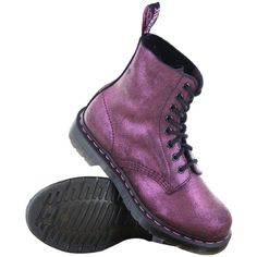 Dr.Martens Pascal Metallic Suede Pink Womens Boots 13660650 ($110) ❤ liked on Polyvore featuring shoes, boots, pink suede boots, suede boots, dr. martens, dr martens footwear and pink suede shoes