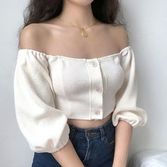 Buy Sinora Puff-Sleeve Off-Shoulder Knit Top Preppy Outfits, Summer Outfits, Cute Outfits, Fashion Outfits, Korean Outfits Cute, Fashion Tips, Look Fashion, Korean Fashion, Off The Shoulder Top Outfit