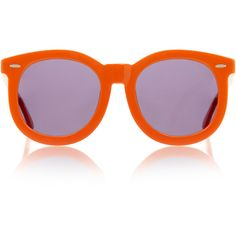 Karen Walker Super Worship Orange Sunglasses ($115) ❤ liked on Polyvore featuring accessories, eyewear, sunglasses, orange, round frame glasses, round frame sunglasses, lens glasses, orange glasses and orange sunglasses