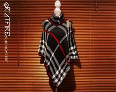 Woolen Winter Cowl Neck Sleeveless Poncho Cardigan Shrug | Tartan Grey White Red | One Size  The poncho is the must have for any wardrobe. It comes it