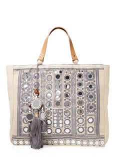 Intricate, metallic embroidery and mirrored accents add a luxe element to this bohemian-inspired Star Mela tote. Summer Handbags, Best Handbags, Nice Handbags, Kendall And Kylie, Zac Posen, Diane Von Furstenberg, Salvatore Ferragamo, Boho Bags, Hippie Bags