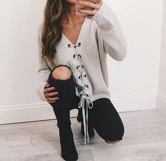 lola lace up sweater in camel and grey