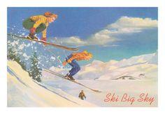 Ski Big Sky, Lady Skiers, Montana Premium Poster