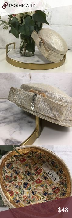 VTG•Brocade Pillbox Hat Darling 1950s-60s metallic brocade hat! This piece features a box bow on the front and is embellished with a dangly rhinestone bit. It is in excellent condition for its age & has a really unique Egyptian inspired lining! This would be the perfect addition to a vintage inspired bridal ensemble. Kay Unger Accessories Hats