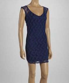 Love this Navy Lace Scoop Neck Dress on #zulily! #zulilyfinds