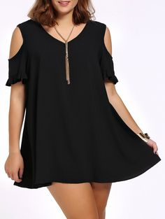 Casual Plus Size Flounced Cold Shoulder Loose Dress For Women