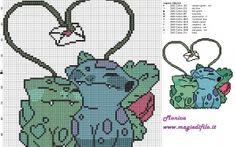 Bulbasaur and Ivysaur pokemon lovers cross stitch pattern