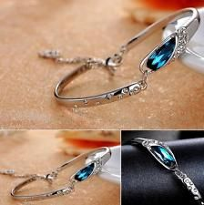 Women Silver Crystal Rhinestone Bracelet Chain Charm Cuff Bangle Jewelry Gift