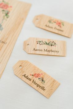 Wooden place cards. Mountain Wedding at the Lake Eden in NC. Jacin Fitzgerald Events.