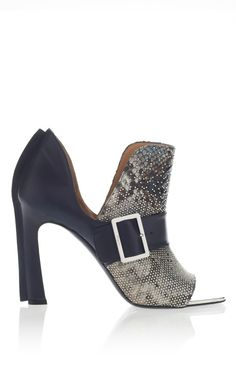 Studded Oxford Blue Python Booties by Salvatore Ferragamo
