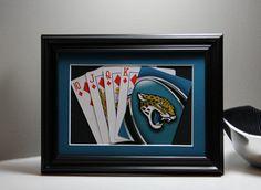 Jacksonville Jaguars 5x7 Flush Diamonds Authentic Playing Card Display by SinCityDisplays on Etsy