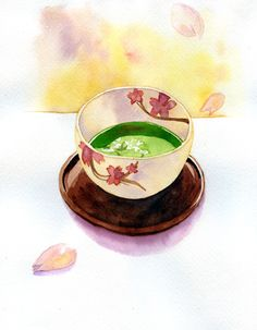 Japanese tea with cherry blossom petals
