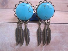 Pair of Turquoise and Feathers Plugs  Handmade by WhimsyByKrista, $25.00